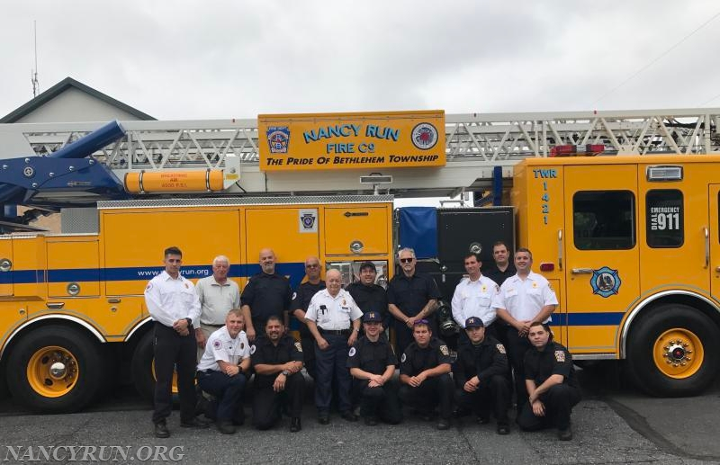 (Pictured Left to Right)   Top Row: Lieutenant Stamets, President Kocsis, Fire Police Lieutenant Cole, Firefighter Van Ness, Fire Marshal Bernard Roecker, Probationary Firefighter Ross, Life Member Hauze, Lieutenant Brown, Firefighter Balfour, Captain McElroy  Bottom Row: First Assistant Chief N. Rampulla, Probationary Chauffeur Sottilare, Probationary Firefighter Gallich, Firefighter Sigley, Firefighter J. Rampulla, Probationary Firefighter Morales